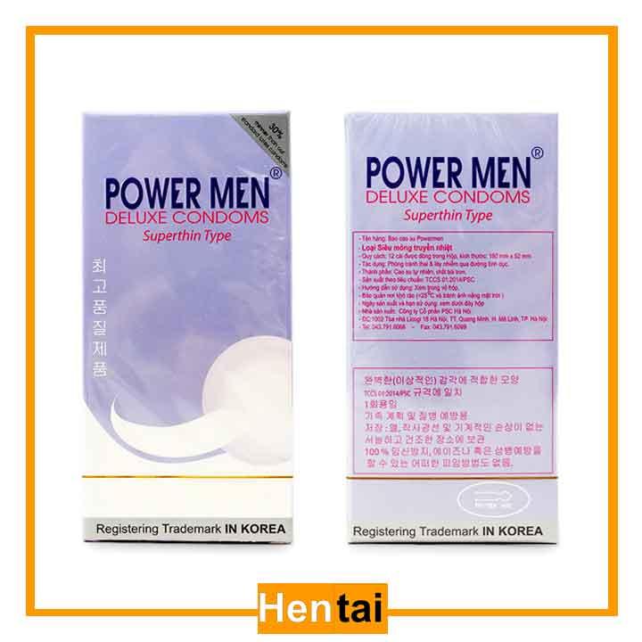 Bao cao su power men siêu mỏng hộp 12 chiếc