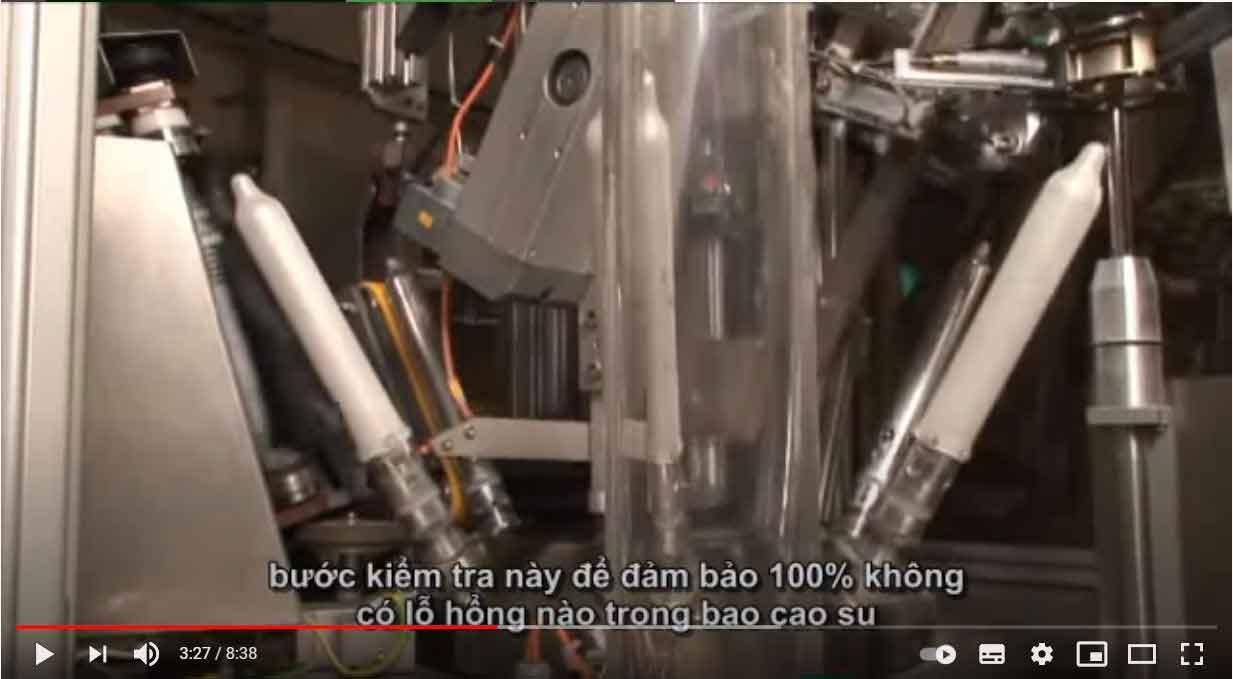 Quy trình kiểm tra lỗ thủng của bao cao su durex